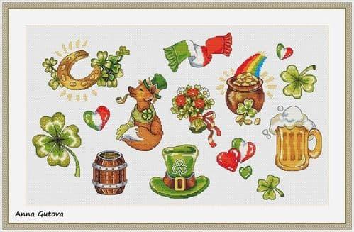Sampler Saint Patrick's Day cross stitch chart by Artmishka Cross Stitch